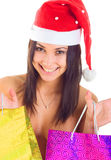 Happy santa. With shopping bags Stock Image
