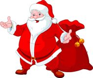 Happy Santa. Claus with sack of gifts royalty free illustration