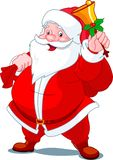 Happy Santa with bell. Santa Claus with sack of gifts, ringing in a bell stock illustration