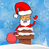 Happy Santa Claus with the bag of the presents stuck in chimney Stock Image