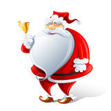 Happy Santa Claus with bell Stock Images