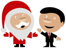 Happy Santa Claus with business man. Happy Santa Claus in the company of a smiling well dressed business man with red tie isolated on white background Stock Photo
