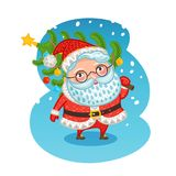 Happy Santa Claus carries Christmas tree. Xmas vector illustration Royalty Free Stock Photography