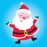 Happy Santa Claus. Cartoon illustration of a happy, smiling and jolly Santa Claus character with his arms up against a blue gradated background Royalty Free Stock Photos