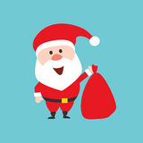 Happy Santa Claus character holds the Christmas bag with gifts. Flat style illustration. Royalty Free Stock Photos