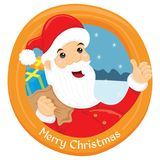 Happy santa claus in circle frame. Easy to change colour Stock Photography
