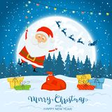 Happy Santa Claus with colorful Christmas lights and gifts. Text Merry Christmas and Happy New Year on winter background with. Falling snow, illustration vector illustration