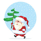 Happy Santa Claus comes with pine-tree Royalty Free Stock Photography