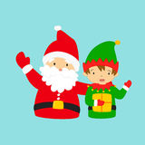 Happy Santa Claus and Dwarf Waving Their Hand Royalty Free Stock Photos