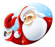 Happy Santa Claus face greeting stock illustration