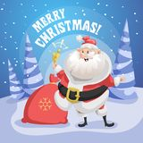 Happy Santa Claus in forest with gift sack and ring bell. Merry Christmas poster. Holiday simple gradient illustration Royalty Free Stock Images