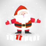 Happy Santa Claus with gift boxes vector illustration for Christ Stock Photo