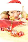 Happy santa claus with gift for christmas Royalty Free Stock Photos