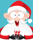 Happy Santa Claus with Gift Vector Cartoon. Vector illustration of a celebrating Santa Claus holding small present Royalty Free Stock Photos