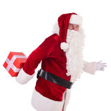 Happy Santa Claus with giftboxes Stock Photography