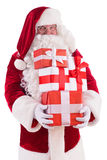 Happy Santa Claus with giftboxes Royalty Free Stock Photo