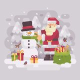 Happy Santa claus giving a scarf to a cute snowman. Christmas flat illustration vector illustration