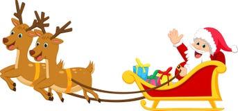 Happy Santa claus with his sleigh Stock Photos