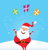 Happy Santa Claus juggling christmas presents. Cute christmas Santa on snow in red costume. Vector Illustration Royalty Free Stock Images