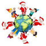 Happy Santa Claus and kids. Illustration of Happy Santa Claus and kids vector illustration