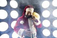 Happy Santa Clous Man. Happy Santa Claus with lights Royalty Free Stock Image
