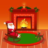 Happy Santa Claus near fireplace in living room. Cartoon Vector Illustration Stock Photo