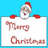 Happy Santa Claus over white blank Stock Photos