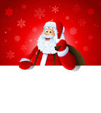 Happy Santa Claus over white blank Stock Photos