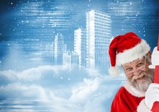 Happy santa claus peeking 3D Royalty Free Stock Photos