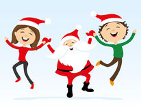 Happy Santa Claus and people Stock Photo