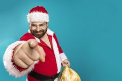 Bad Santa Clous Man. Happy Santa Claus pointing on you, concept christmas Stock Photography