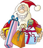 Happy santa claus with presents. Happy santa claus with christmas presents Royalty Free Stock Images