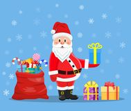 Happy Santa Claus with presents royalty free illustration