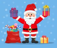 Happy Santa Claus with presents stock photography