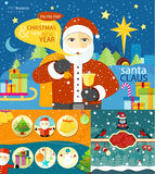 Happy Santa Claus profession series. Happy Santa Claus profession. Santa Claus with bag of presents and bell near to sled in town. Christmas banners set and New Royalty Free Stock Image
