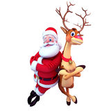 Happy Santa claus with reindeer Royalty Free Stock Image