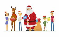 Happy Santa Claus, reindeer and children - cartoon characters isolated illustration. On white background. Smiling Father Frost with a bag of gifts, deer and elf Royalty Free Stock Image