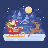 Happy Santa Claus riding in a sleigh drawn by reindeer. Across a snowy night winter village landscape. Christmas flat illustration Stock Images