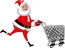 Happy Santa Claus Running Pushing Empty Cart  Royalty Free Stock Images