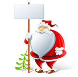 Happy Santa Claus with sign. Illustration  on white background Stock Images