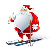Happy Santa Claus on ski Stock Images