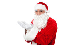 Happy Santa Claus smiling with open palms Royalty Free Stock Photography