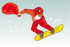 Happy Santa Claus on snowboard. Santa Claus snowboard christma snow stock illustration