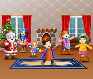 Happy santa claus with some kids in the home. Illustration of Happy santa claus with some kids in the home royalty free illustration
