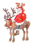 Happy Santa Claus wearing fake antlers on reindeer. Happy Santa Claus wearing fake antlers carries bag with gifts while riding on reindeer - watercolor royalty free illustration