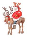 Happy Santa Claus wearing fake antlers on reindeer Stock Photography