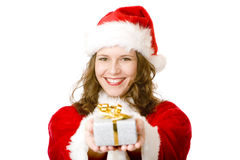 Happy  Santa Claus woman holding Christmas gift Stock Images