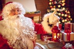 Happy Santa Claus on xmas- Christmas time Stock Photos
