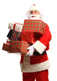 Happy Santa Claus with xmas presents Stock Photos