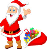Happy Santa Clause cartoon with gift Royalty Free Stock Image